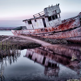 Havoc on the Shorline by Christian Wicklein - Transportation Boats ( point reyes, reflection, hdr, color, shipwreck, ship, fishing, rust, boat,  )
