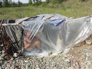 Photo: Вариант бани с использованием рельефа - земляночного типа. Отмылись на славу!