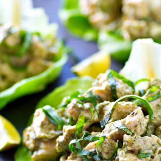 Grilled Chicken Salad Pesto Lettuce Wraps.