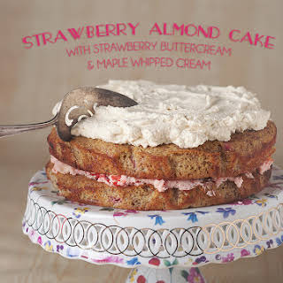 Gluten-free Strawberry Almond Cake With Strawberry Buttercream And Maple Whipped Cream.