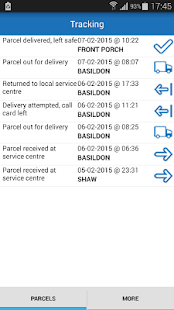 ParcelSpace tracking alerts+ screenshot