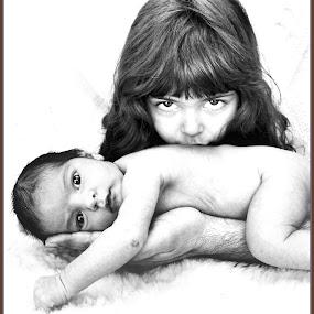 My Grandbabies by Anita Atta - Babies & Children Child Portraits ( love, child, hands, black and white, infant, loving, father, eyes,  )