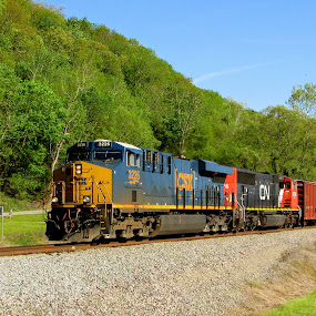 Run Through Power by Rick Covert - Transportation Trains ( springtime, railroad, locomotive, arkansas, trains,  )