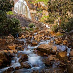 Lesmurdie Falls by Alister Munro - Landscapes Waterscapes