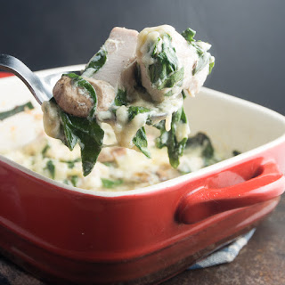Chicken, Mushroom and Spinach Casserole with Gruyere Cheese