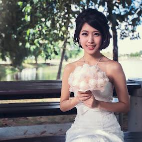 Beautiful in White by Emest Freezo - Wedding Bride ( wedding photography, bridal, wedding gown, wedding, white, gown, bride, flower, photography )