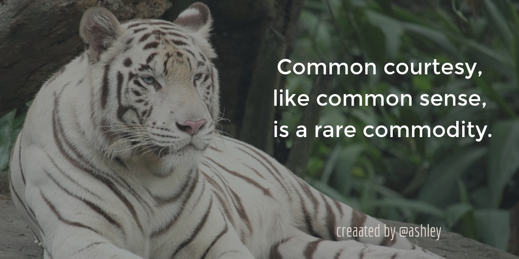 Common courtesy, like common sense, is a rare commodity.