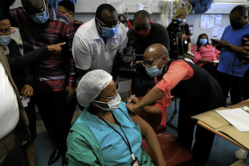 Relief: SA health workers get their vaccinations. Picture: Alon Skuy