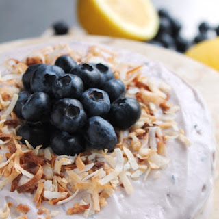 LEMON COCONUT CAKE WITH BLUEBERRY FROSTING