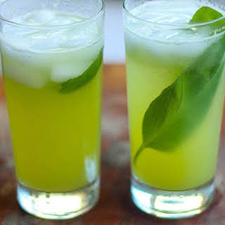 Honeydew Melon and Cucumber Soda with Basil.
