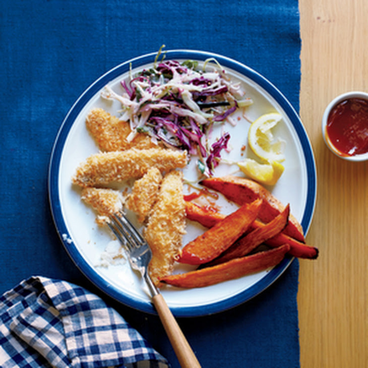 Baked Fish Sticks and Sweet Potato Fries Recipe | Yummly