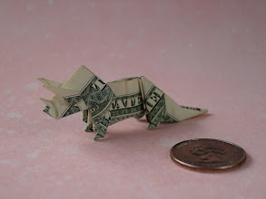 Photo: Model: Triceratops;  Creator: John Montroll;  Folder: William Sattler;  1 dollar;  Publication: Dollar Bill Animals In Origami (John Montroll) ISBN 0-486-41157-5