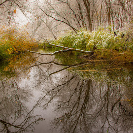 by Stephen  Barker - Landscapes Waterscapes ( fall, reflections, snow, river )