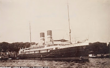 """Photo: """"Oranje-Nassau"""" at Amsterdam in her function as hotel ship for the guests of the Olympic Games, June 1928"""