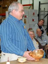 Photo: Mark Verna introduces his natural-edge red oak bowl.