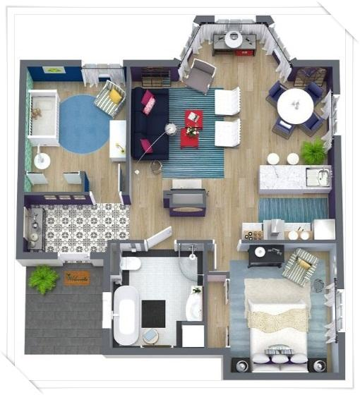 3d small house layout design screenshot