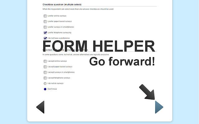 Survey helper - go forward!