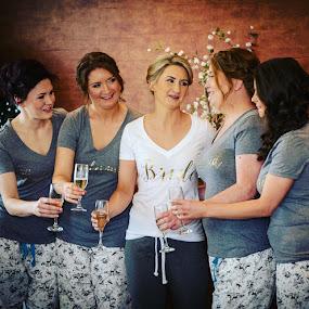 Cheers by Paul Duane - Wedding Getting Ready ( bridesmaids, champagne, wedding, getting ready, bride )