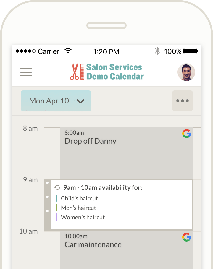appointment app with google calendar sync integration