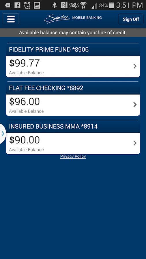 Signature Mobile Banking- screenshot
