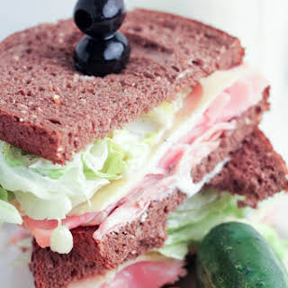 Wedge Salad Ham and Swiss Sandwich with Homemade Ranch Dressing.