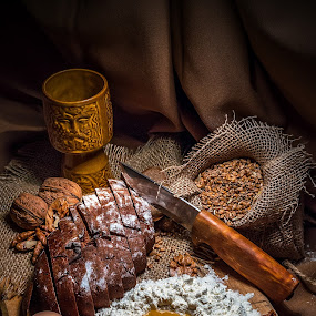 Preparing dinner 1 by Ovidiu Sova - Food & Drink Cooking & Baking ( cup, flour, eggs, bread, food, nuts, cereals, knife,  )