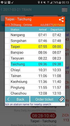 Capturas de pantalla de Taiwan Railway Timetable 3
