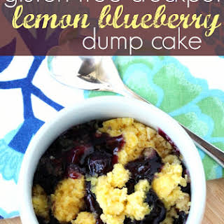 Gluten Free Crockpot Lemon Blueberry Dump Cake.