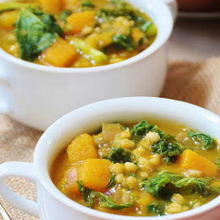 Acorn Squash, Kale, and Barley Soup (Vegan)