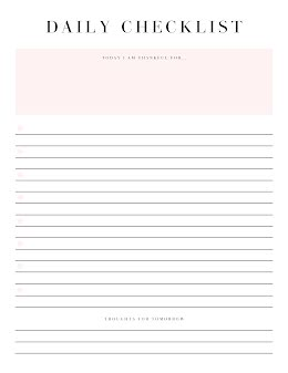 Simple Daily Checklist - Planner item