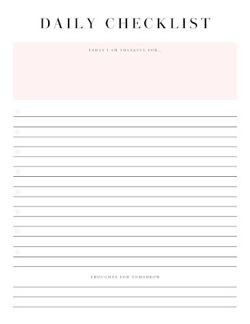 Simple Daily Checklist - Planner template