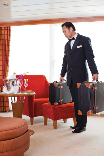 Regent-butler-luggage.jpg - A butler prepares to handle guests' luggage during a  Regent Seven Seas voyage.