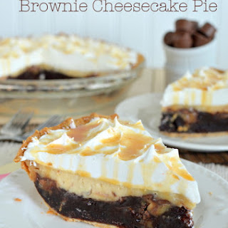 Salted Caramel Brownie Cheesecake Pie