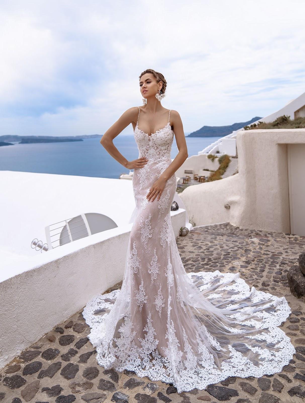 Мереживна весільна сукня русалка