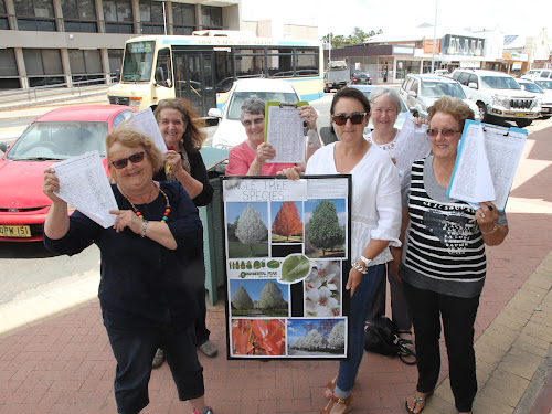 TREE CHANGERS:  Narrabri Garden Club members and supporters have distributed petitions calling for an avenue of single tree species in Maitland Street. Above, club president Jenni Hayne, secretary Noeline Kiss, Elizabeth Spicer, Kerrie Moss, Robyn Wangmann and vice president Gloria Campey.