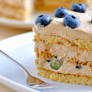 Blueberry and Espresso Buttercream Coffee Cake.