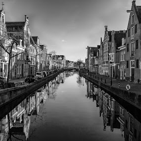 Reflections in Alkmaar by Cora Lea - Black & White Landscapes