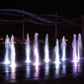 Spirits of Water by Dyane Kirkland - City,  Street & Park  Fountains ( water, public park, playspace, fountains, colored lights, lighted fountains )