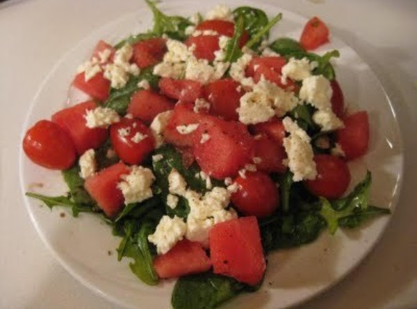 Watermelon, Tomato, Feta And Arugula Salad W/ Balsamic Glaze Recipe