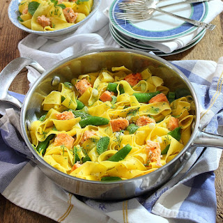 Pappardelle with Salmon and Snap Peas