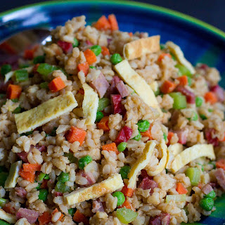 Light Vegetable Fried Rice Recipe with BBQ Pork.