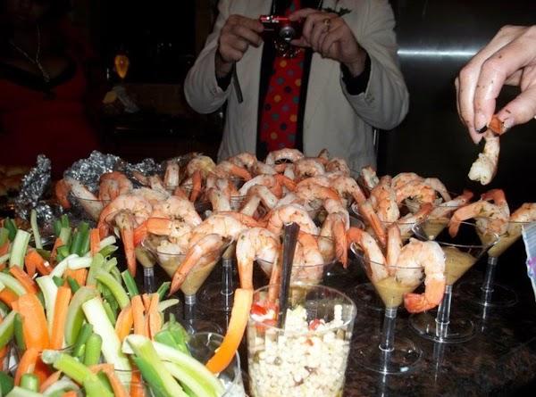 Shrimp Cocktail:  shrimp cocktail with tomatillo cocktail sauce