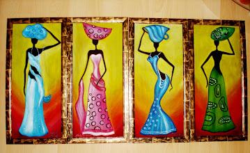 Photo: 319, Нетронина Наталья, Тетраптих Африканочка, Масло, бархат (живопись по бархату), 45х222см,