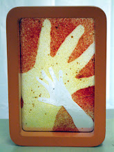 Photo: 'Hands',2009 - fused laboratory glass and frame - 10x25cms - SALE PRICE £30