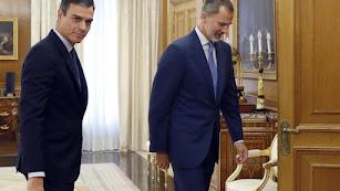 Pedro Sánchez y Felipe VI, tras la segunda jornada de ronda de consultas.