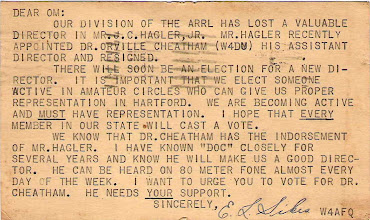 Photo: In 1934 this post card was sent to South Carolina Hams asking for their support to elect a new Director for their Southeast Division. Notice he says they need reprentation in Hartford before Newington.