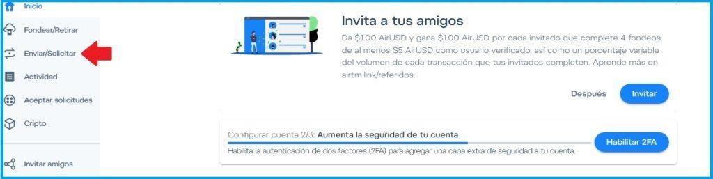 Al enviar el dinero la plataforma generará una notificación con los detalles de la operación. El sistema automáticamente aceptará el correo destinatario si el mismo fue escrito correctamente; esto se coteja con la base de datos de Airtm. Así el proceso es doblemente seguro.