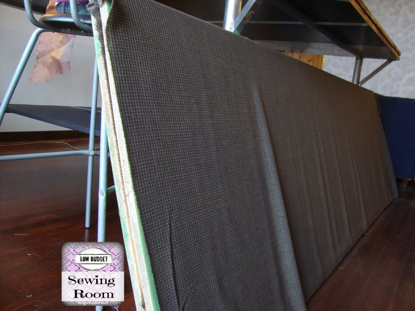 Serger Pepper - Wool Coated Shelves DIY - Low Budget Sewing Room - lay fabric