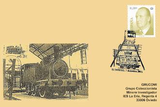 """Photo: Matasellos del Centenario de la locomotora """"La Palau"""" en el Museo de la Minería, organizado por CECE en 2005"""