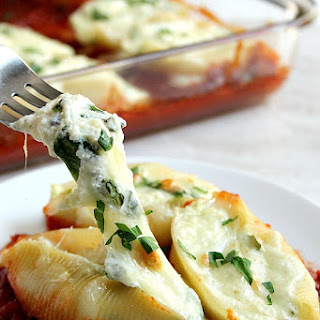 Spinach and Ricotta Stuffed Pasta Shells.